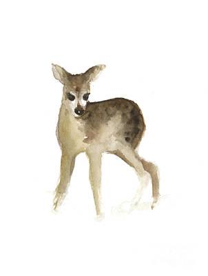 Deer Mixed Media - Deer Fawn Watercolor Painting by Joanna Szmerdt