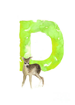Abstract Deer Painting - Deer Figurine Watercolor Poster by Joanna Szmerdt