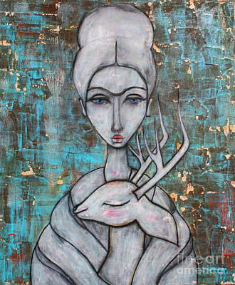 Female Painting - Deer Frida by Natalie Briney