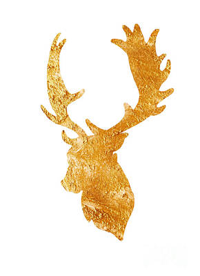 Deer Head Silhouette Drawing Print by Joanna Szmerdt