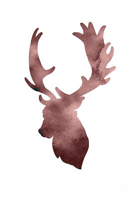 Abstract Deer Painting - Deer Head Silhouette Minimalist Painting by Joanna Szmerdt