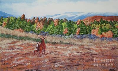 Deer In Fall Print by Charlotte Blanchard