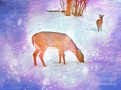 Deer Pair In Snow Bokeh On Rough Paper Texture Print by Shelly Weingart