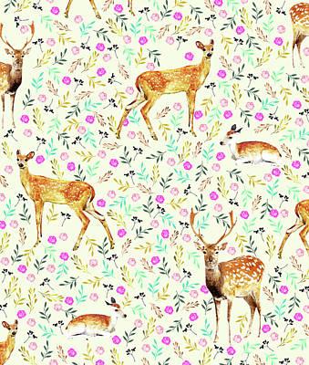 Deer Mixed Media - Deers by Uma Gokhale