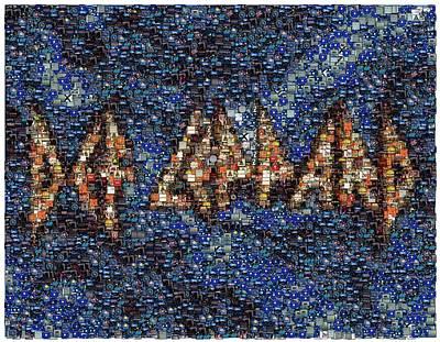 Def Leppard Albums Mosaic Print by Paul Van Scott