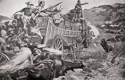 South Africa Drawing - Defending A Laager During The Matabele by Vintage Design Pics