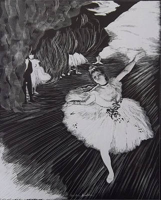 Stage Lights Drawing - Degas' L'etoile In Scratchboard by Becky Chappell
