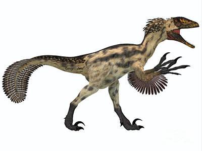 Deinonychus On White Print by Corey Ford