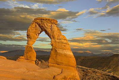Color Photograph - Delicate Arch At Sunset by Adam Romanowicz