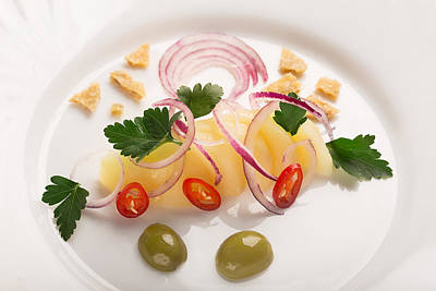With Red Photograph - Delicious Potato Salad With Red Onion by Vadim Goodwill