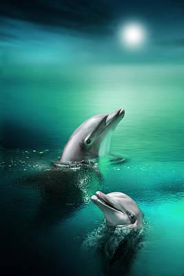 Dolphin Digital Art - Delightful Dolphins by Julie L Hoddinott