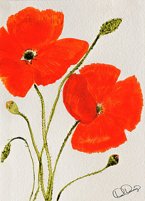 Dee Painting - Delightful Poppies by Dee Browning