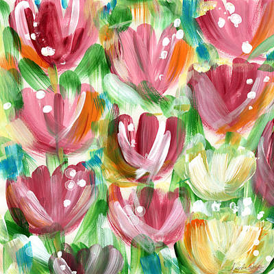 Abstract Flower Painting - Delightful Tulip Garden by Linda Woods