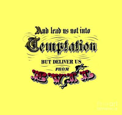 Religion Drawing - Deliver Us From Evil Tee by Edward Fielding