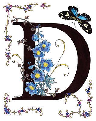 Constance Widen Painting - Delphinium And Doris Butterfly by Stanza Widen