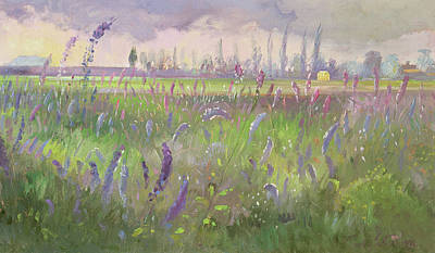 Delphinium Painting - Delphiniums, Storm Passing by Timothy Easton