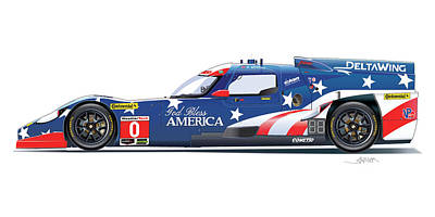 All American Drawing - Deltawing Le Mans Racer Illustration by Alain Jamar