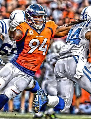 Dallas Cowboys Painting - Demarcus Ware Broncos Art by Joe Hamilton