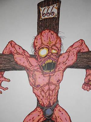 Demon Crucifix Print by Michael Toth