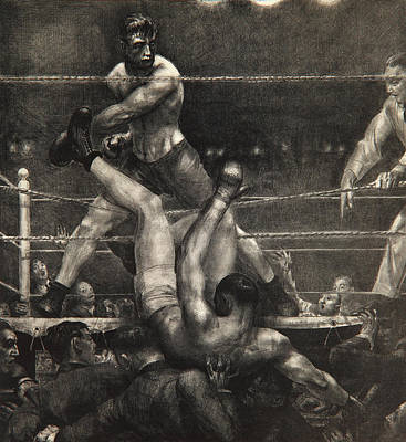 Knockout Drawing - Dempsey Through The Ropes by George Wesley Bellows