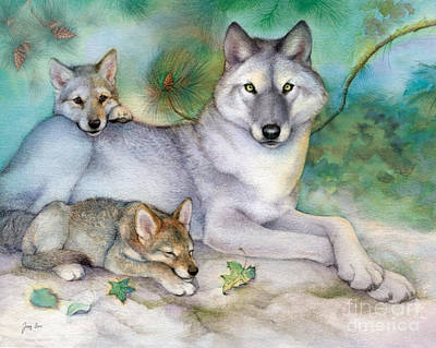 Wolf Painting - Den Father Wolves by Tracy Herrmann