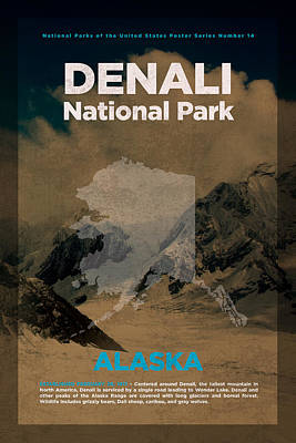 National Parks Mixed Media - Denali National Park In Alaska Travel Poster Series Of National Parks Number 14 by Design Turnpike