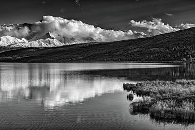 Denali Reflections In Black And White Print by Rick Berk