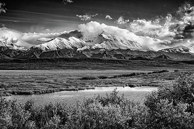 Denali, The High One In Black And White Print by Rick Berk