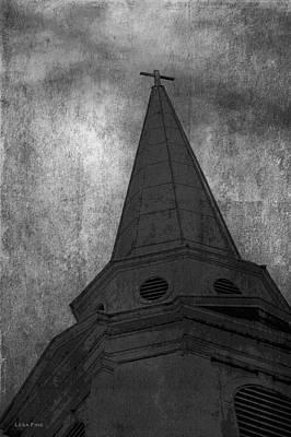 Cross Photograph - Denim And The Cross Bw by Lesa Fine