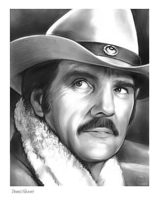 Westerns Drawing - Dennis Weaver by Greg Joens