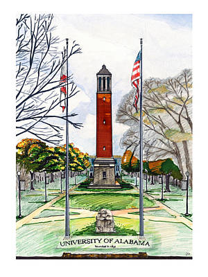 Denny Chimes At University Of Alabama Print by Yang Luo-Branch