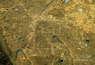 Usa Digital Art - Denver 3d Landscape View South-north Natural Color by Frank Ramspott
