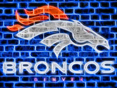 Denver Broncos Electric Sign Print by Dan Sproul