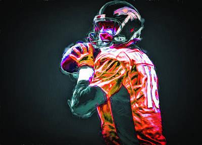 Denver Broncos Peyton Mannin Painted Digitally Mix 2 Print by David Haskett