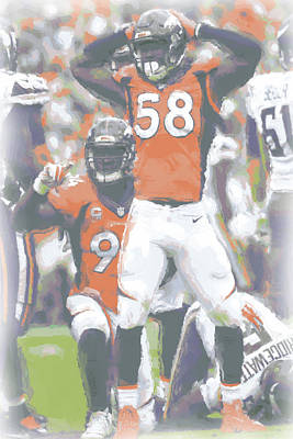 Denver Broncos Von Miller 3 Print by Joe Hamilton