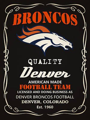 Team Painting - Denver Broncos Whiskey by Joe Hamilton