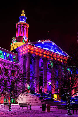 Denver City And County Building Happy Holidays Print by Teri Virbickis