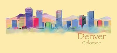Christmas Digital Art - Denver Colorado Skyline Tshirts And Accessories by Loretta Luglio