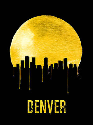 Silhouette Digital Art - Denver Skyline Yellow by Naxart Studio