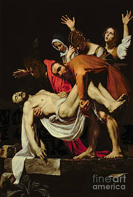 God Body Painting - Deposition by Michelangelo Merisi da Caravaggio