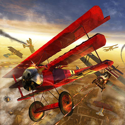 Bi Plane Digital Art - Der Rote Baron by Kurt Miller