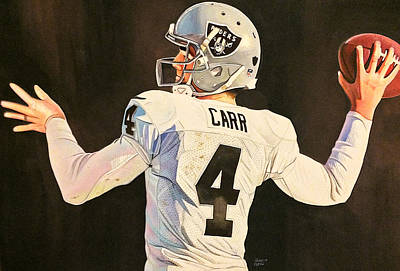 Painting - Derek Carr Oakland Raiders  by Michael  Pattison