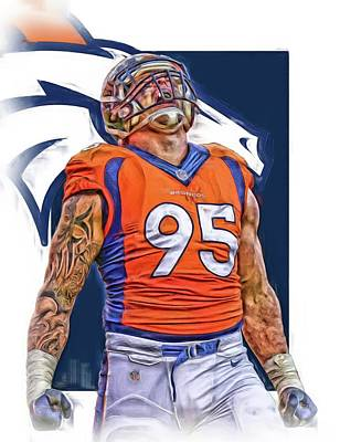 Super Bowl Mixed Media - Derek Wolfe Denver Broncos Oil Art by Joe Hamilton
