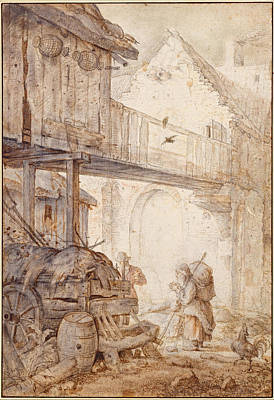 Derelict Courtyard With A Beggar Woman Print by Roelandt Savery