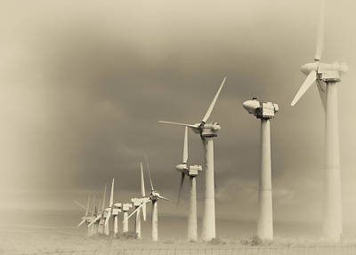 Aero Photograph - Derelict Wind Turbines Of South Point - Hawaii by Daniel Hagerman