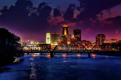 Des Moines At Dusk Print by Tony Walker