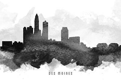 Iowa Digital Art - Des Moines Cityscape 11 by Aged Pixel