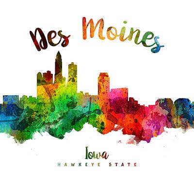 Iowa Digital Art - Des Moines Iowa 24 by Aged Pixel