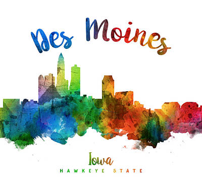 Iowa Digital Art - Des Moines Iowa 25 by Aged Pixel