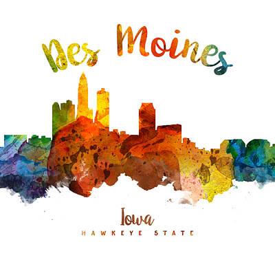Iowa Digital Art - Des Moines Iowa 26 by Aged Pixel